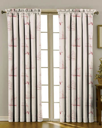 Tissu Belle Ile Voiliers Rouge Beige Curtains