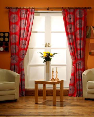 Tissu Glamour Broderie Soleil Sequin Rouge Curtains