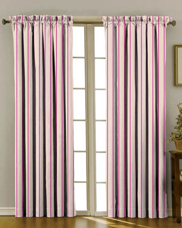 Tissu Lily Rose Rayure Taupe Violet Curtains