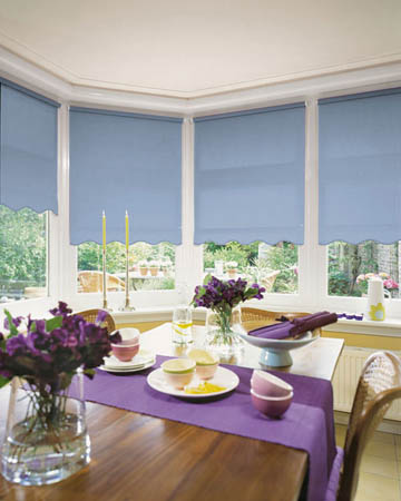 Cordless Plain Light Blue Roller Blinds