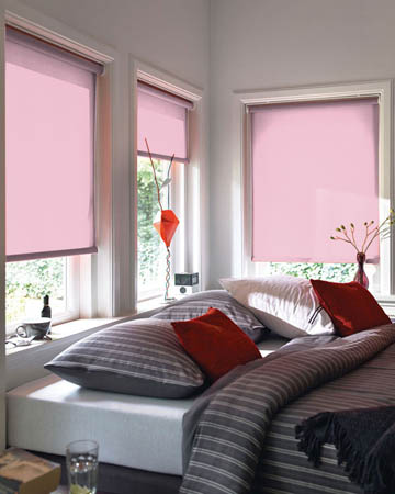 Cordless Plain Pink Roller Blinds
