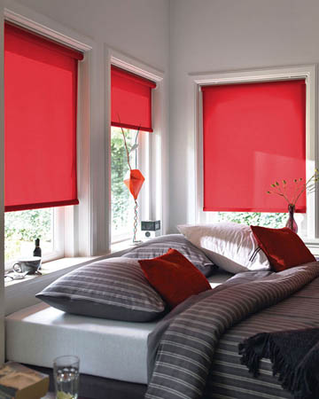 Cordless Plain Red Roller Blinds