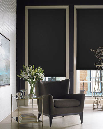 Plain Black Roller Blinds