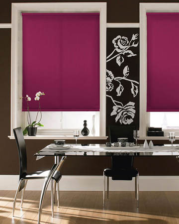 Cordless Plain Fuchsia Roller Blinds