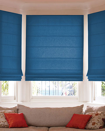 Faux Silk Dark Blue Roman Blinds