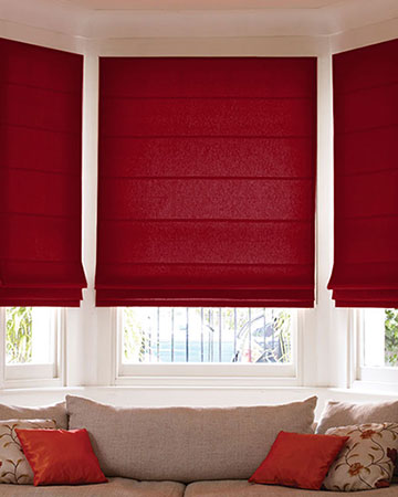 Faux Silk Dark Red Roman Blinds