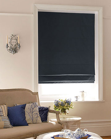 Luxe Black Roman Blinds