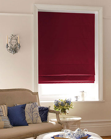 Luxe Dark Red Roman Blinds