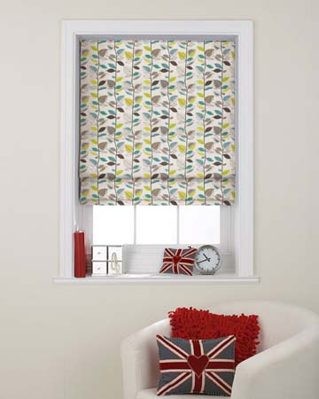 Prestigious Autumn Leaves Teal Roman Blinds