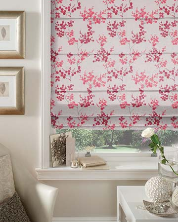 Tissu Fancy Garden Grappes Rouge Roman Blinds