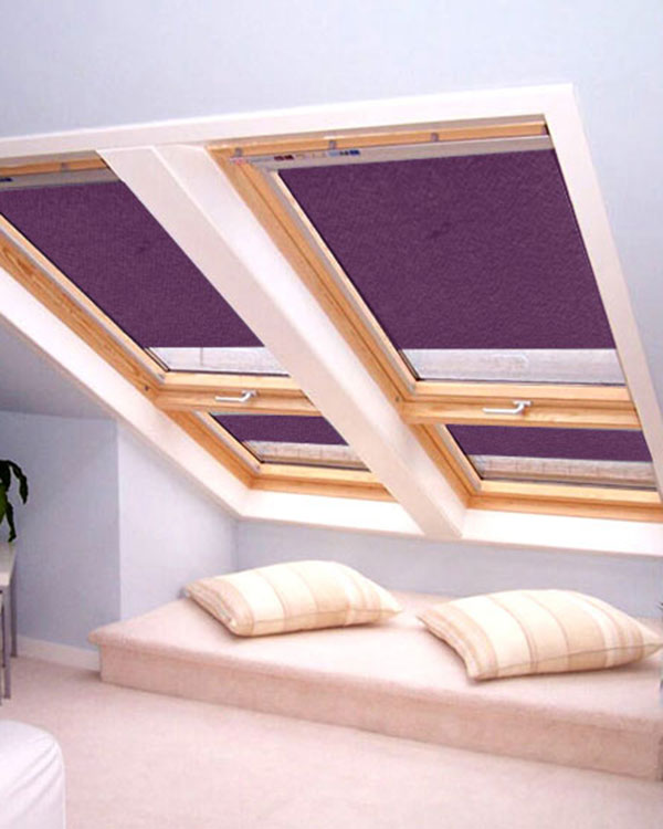 original aubergine roller blinds for velux roof windows. Black Bedroom Furniture Sets. Home Design Ideas