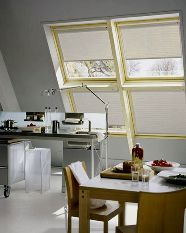 Original brown marble pleated blinds for velux roof windows for Velux ggl 808 dimensions