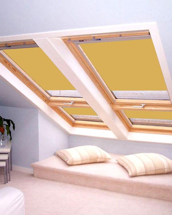 Original mustard blackout blinds for velux roof windows for Velux ggl 808 dimensions
