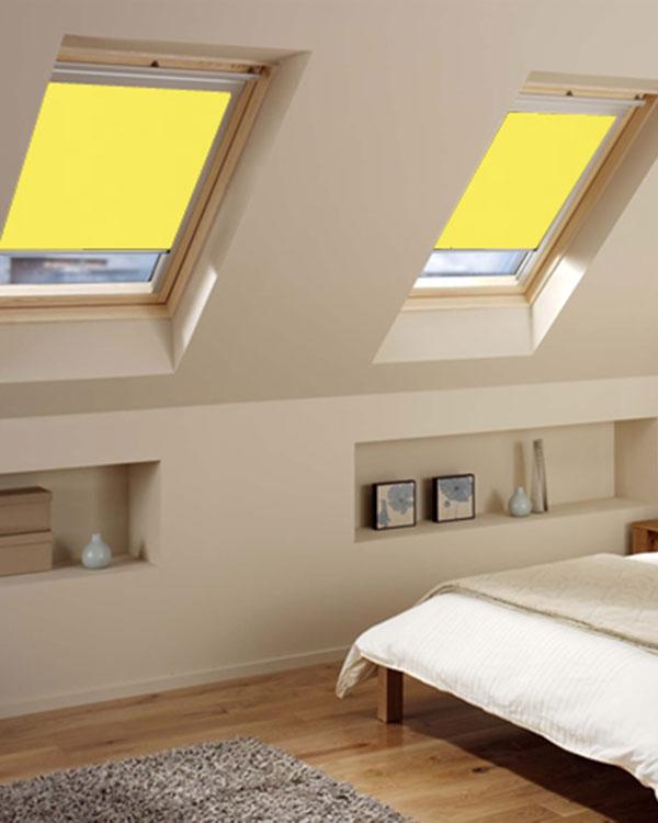 original bright yellow roller blinds for velux roof windows. Black Bedroom Furniture Sets. Home Design Ideas