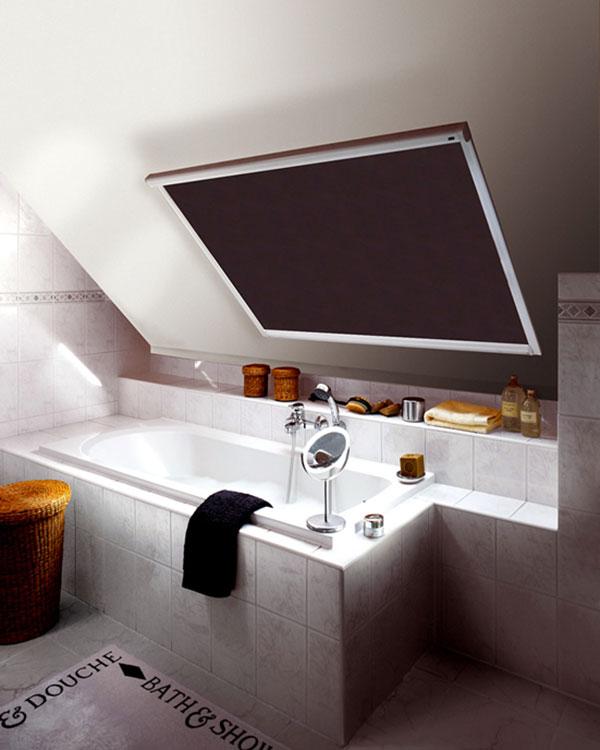 Original dark brown roller blinds for velux roof windows for Velux ggl 808 dimensions