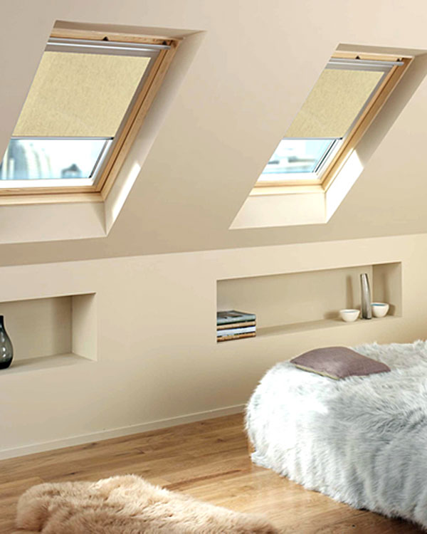 original natural grained roller blinds for velux roof windows. Black Bedroom Furniture Sets. Home Design Ideas