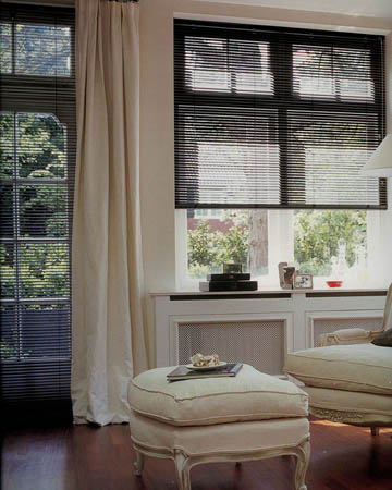 Perforated Black Satin Aluminium Venetian Blinds
