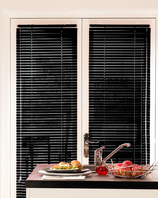 Shiny Black Aluminium Venetian Blinds
