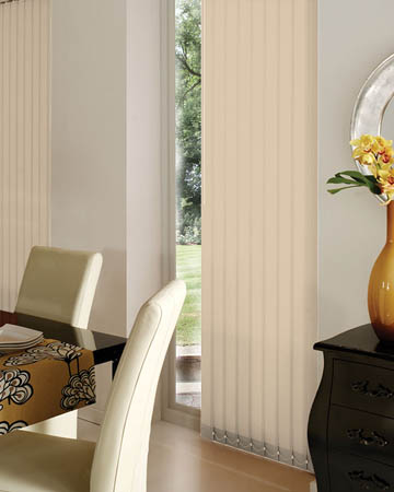 Wipeable Beige Vertical Blinds