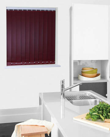 Wipeable Burgundy Vertical Blinds