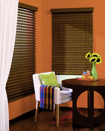 Dark Varnished Real Oak Wooden Blinds
