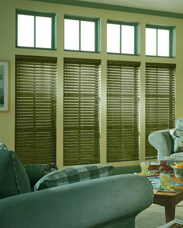 Distressed Army Green Varnished Real Oak Wooden Blinds