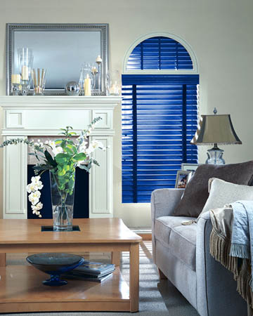 Distressed Blue Varnished Real Oak Wooden Blinds