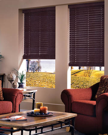 Distressed Chocolate Varnished Real Oak Wooden Blinds